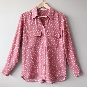 ELODIE Pink floral shirt square pockets small